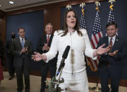 Rep. Elise Stefanik, R-N.Y., speaks to reporters at the Capitol in Washington, Friday, May 14, 2021, just after she was elected chair of the House Republican Conference, replacing Rep. Liz Cheney, R-Wyo., who was ousted from the GOP leadership for criticizing former President Donald Trump. She is joined by, from left, Rep. Gary Palmer, R-Ala., House Minority Leader Kevin McCarthy, R-Calif., and Rep. Mike Johnson, R-La. (AP Photo/J. Scott Applewhite)