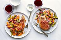 """Escabèche translates to marinade, which is exactly what you're making here: a bright, tangy marinade full of pickled vegetables that also makes an ideal sauce for juicy, thick-cut pork chops. If you can't find Padrón peppers, you can use shishitos or sliced cubanelles. <a href=""""https://www.epicurious.com/recipes/food/views/pork-chops-and-padron-chiles-en-escabeche?mbid=synd_yahoo_rss"""" rel=""""nofollow noopener"""" target=""""_blank"""" data-ylk=""""slk:See recipe."""" class=""""link rapid-noclick-resp"""">See recipe.</a>"""