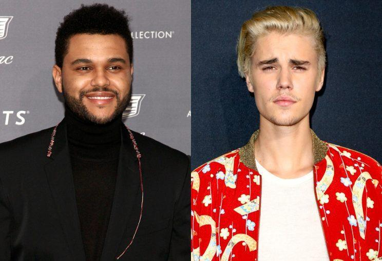 Justin Bieber seems to be a little jealous of The Weekend. (Photo: AP Images)