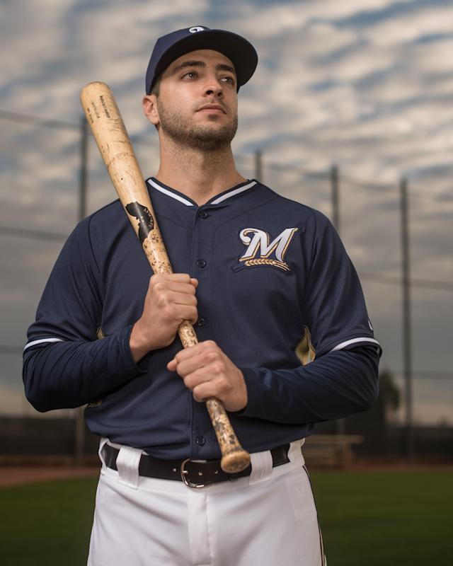 MARYVALE, AZ - FEBRUARY 23: Ryan Braun #8 of the Milwaukee Brewers poses for a portrait on photo day at the Milwaukee Brewers Spring Training Complex in Maryvale, Arizona on February 23, 2014. (Photo by Rob Tringali/Getty Images)