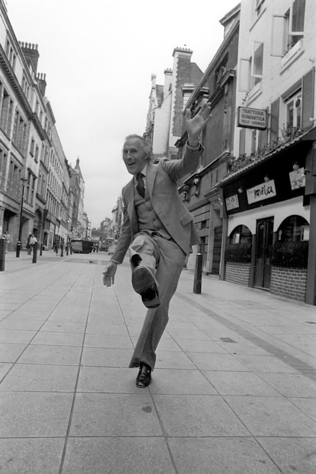 <p>Sir Bruce dancing in a West End street in 1977 after announcing he'll star in a new musical, The Bricusse and Newley Travelling Music Show. </p>