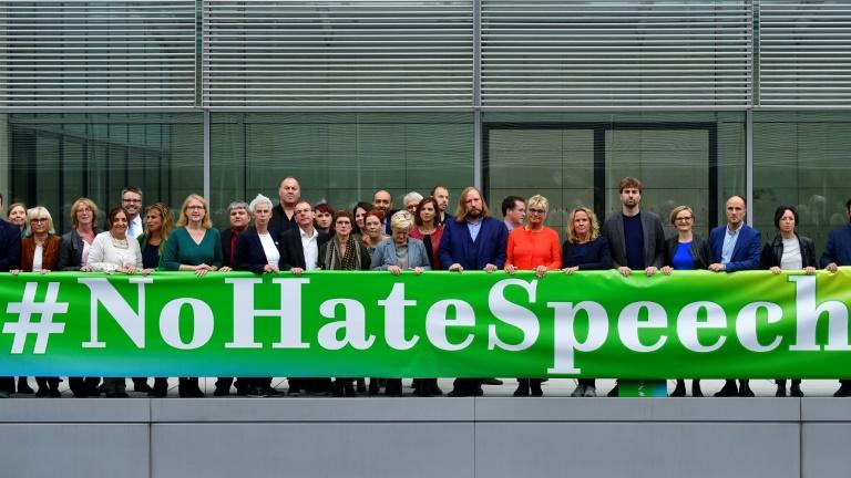 Members of Germany's Greens party staged a protest against hate speech in September 2019