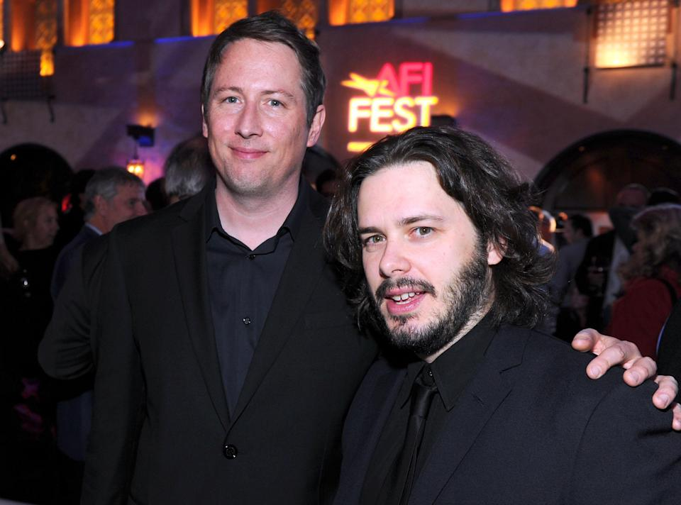 """Writers Joe Cornish and Edgar Wright arrive at """"The Adventures of Tintin: The Secret of The Unicorn"""" Closing Night Gala after party during AFI FEST 2011. (Photo by Alberto E. Rodriguez/Getty Images for AFI)"""