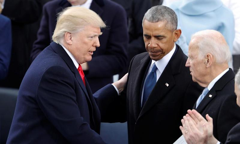 Trump, Obama and Biden at the former's inauguration in January 2017.