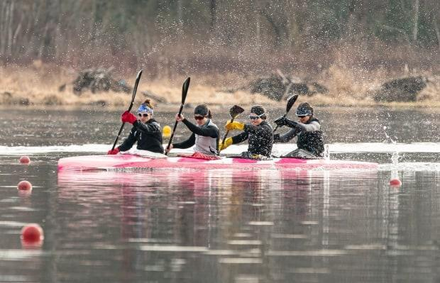 Nova Scotia paddler Michelle Russell, third from left, has punched her ticket to the Olympics in Tokyo this summer.  (Rick Lam/CKC - image credit)
