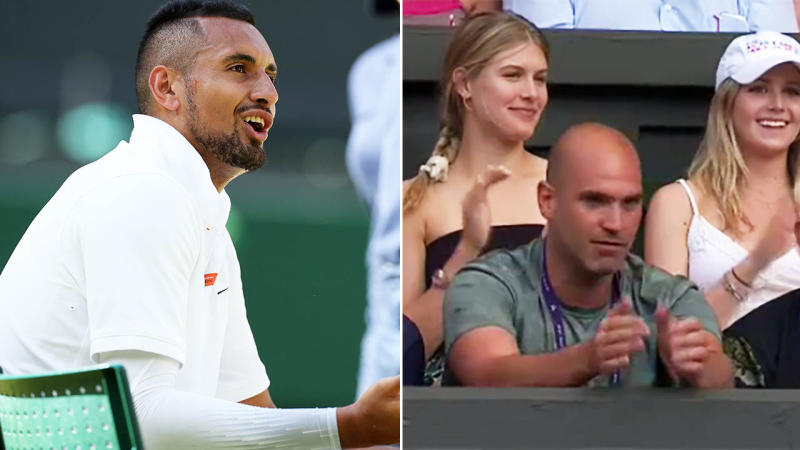 Eugenie Bouchard was sitting in Nick Kyrgios' box at Wimbledon. Image: Getty/Eurosport