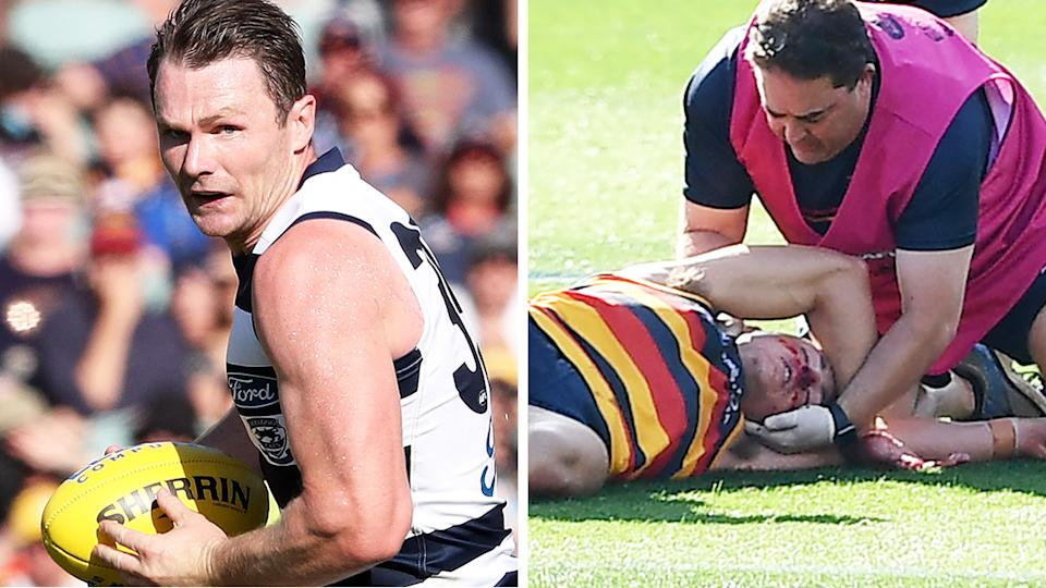 Geelong's Patrick Dangerfield has been suspended for three weeks by the AFL tribunal over a bump that left Adelaide's Jake Kelly concussed. Pictures: Getty Images