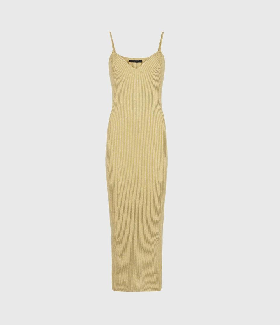 """<p><a class=""""link rapid-noclick-resp"""" href=""""https://go.redirectingat.com?id=127X1599956&url=https%3A%2F%2Fwww.allsaints.com%2Fwomen%2Fdresses%2Fallsaints-lexi-midi-dress%2F%3Fcolour%3D79%26category%3D22&sref=https%3A%2F%2Fwww.harpersbazaar.com%2Fuk%2Ffashion%2Fg36815222%2Fknitted-dresses%2F"""" rel=""""nofollow noopener"""" target=""""_blank"""" data-ylk=""""slk:SHOP NOW"""">SHOP NOW</a></p><p>With its slender spaghetti straps and bodycon rib, AllSaints midi nods to the 1990s. We like how the cotton yarns are woven with Lurex to create a hint of sparkle – pair it with the matching cropped cardi to create an ensemble.</p><p>Lurex rib-knit dress. £99, allsaints.com </p>"""