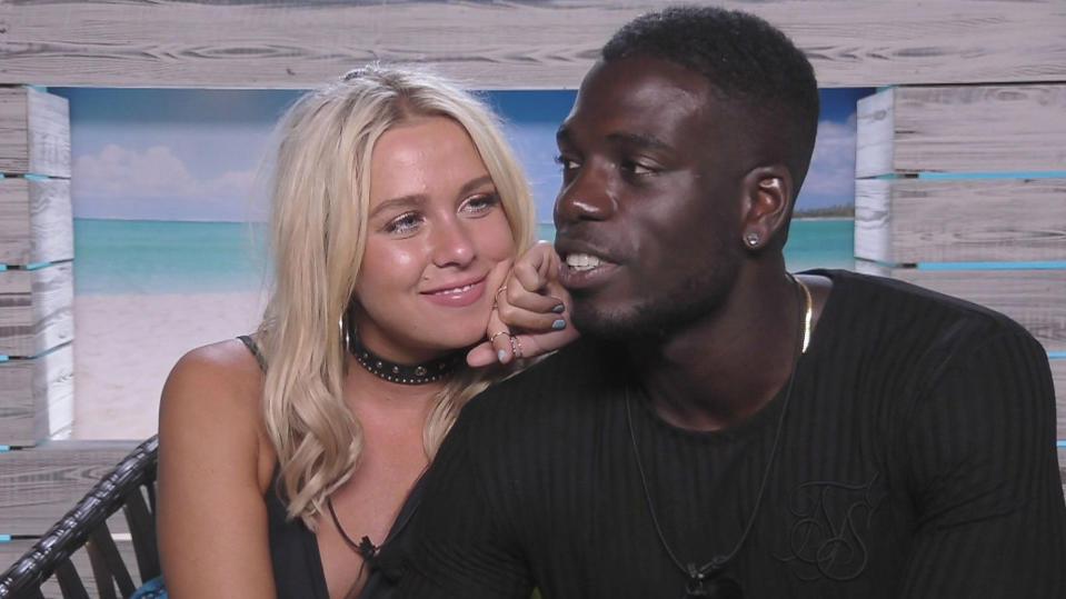 Marcel Somerville coupled up with Gabby Allen in the 'Love Island' villa. (ITV)