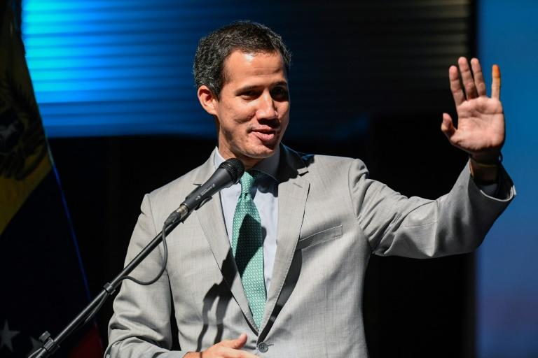 Venezuelan opposition leader and self-proclaimed interim president Juan Guaido addresses a university in Caracas in June 2019