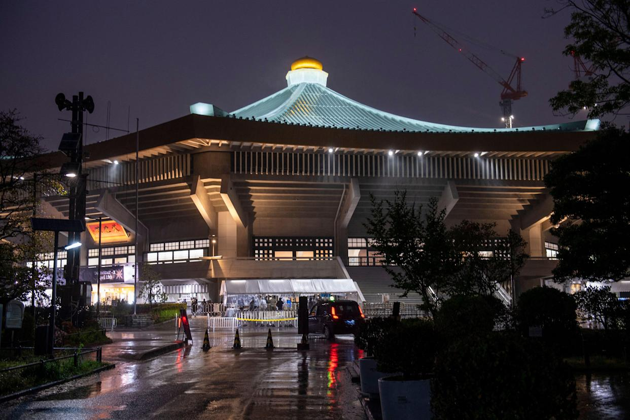 This picture shows the Nippon Budokan, venue for the judo and karate events, 100 days till the start of the Tokyo 2020 Olympic Games in Tokyo on April 14, 2021. (Photo by Kazuhiro NOGI / AFP) (Photo by KAZUHIRO NOGI/AFP via Getty Images)