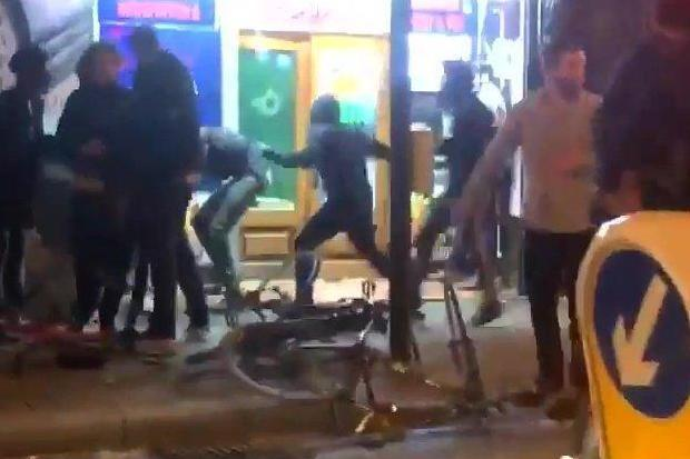 Attack: video footage shows a group of youths, allegedly holding knives, fighting outside an off-licence