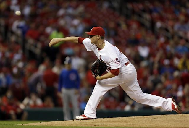 St. Louis Cardinals starting pitcher Shelby Miller throws during the first inning of a baseball game against the Chicago Cubs on Monday, June 17, 2013, in St. Louis. (AP Photo/Jeff Roberson)