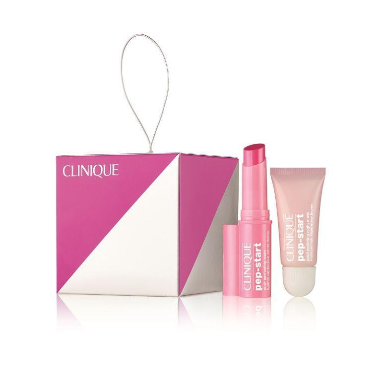 """<p><a rel=""""nofollow noopener"""" href=""""https://www.clinique.co.uk/product/20416/52532/christmas-2017/pep-your-pout/christmas-set-2017"""" target=""""_blank"""" data-ylk=""""slk:Look Fantastic"""" class=""""link rapid-noclick-resp"""">Look Fantastic</a> - £15</p><p>Clinique's cute cube decoration boasts the clever Pout Restoring Night Mask to plump, smooth and hydrate winter lips and the brand's infamous Pout Perfecting Lip Balm, which delivers a sheer and ultra-hydrating wash of coral colour and complements all skin tones beautifully. </p>"""