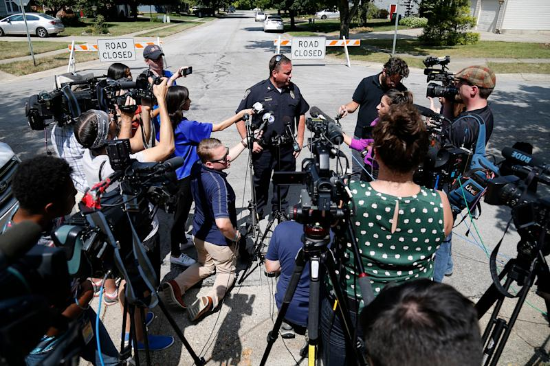 Bellbrook chief of police Doug Doherty answers questions near the home of Oregon District shooting suspect Connor Betts in Bellbrook, Ohio, on Monday, Aug. 5, 2019.