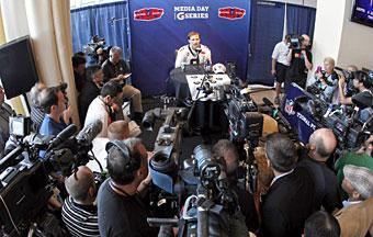 Drew Brees answers questions during Super Bowl media day