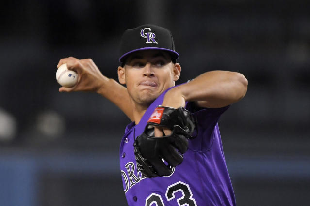 Colorado Rockies starting pitcher Peter Lambert throws during the first inning of the team's baseball game against the Los Angeles Dodgers on Friday, Sept. 20, 2019, in Los Angeles. (AP Photo/Mark J. Terrill)