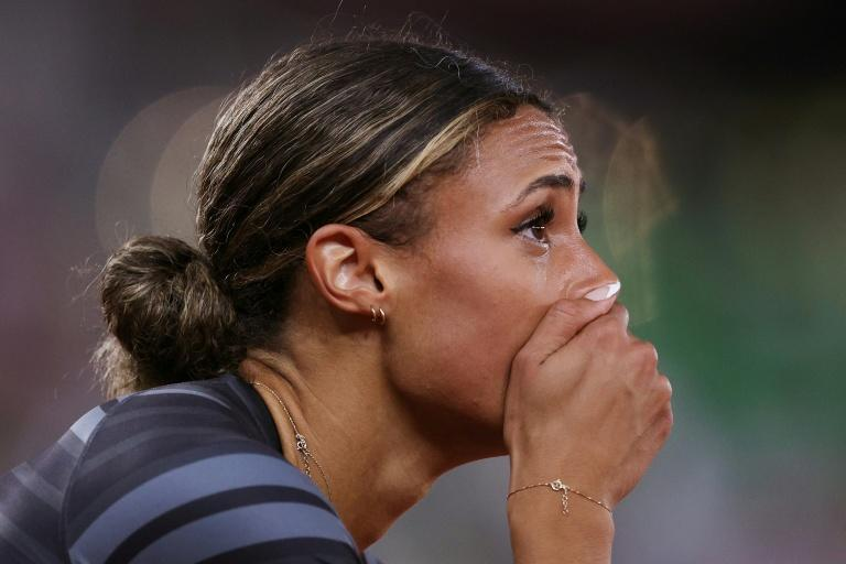 Sydney McLaughlin reacts in disbelief after her world record-breaking performance in the 400m hurdles at the US Olympic trials