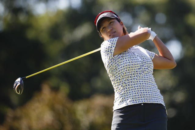 Hanna Kang, of South Korea, tees off on the seventh hole during the the first round of the Marathon Classic LPGA golf tournament at Highland Meadows Golf Club in Sylvania, Ohio, Thursday, July 17, 2014. (AP Photo/Rick Osentoski)