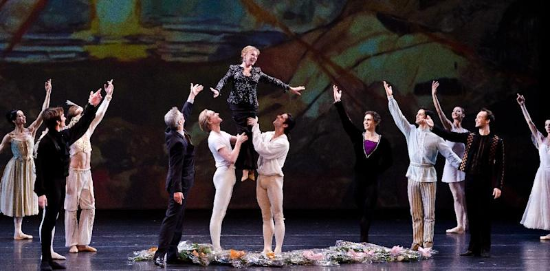 In this April 28, 2012 image released by Jonathan Marder + Company, legendary Russian ballerina Natalia Makarova, center, is hoisted at a tribute to her career at Lincoln Center's David H. Koch Theater in New York. Dancers from around the world performed at the tribute, which was put on by the Youth America Grand Prix ballet competition. (AP Photo/Jonathan Marder + Company, Liza Voll)