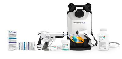 The EvaClean™ Infection Prevention System developed by EarthSafe Chemical Alternatives® includes: handheld and backpack Protexus® Electrostatic Sprayers: PurTabs™ and PUR:ONE™ hospital-grade EPA registered disinfectant tablets effective against coronavirus yet safe for people and environment; best practices for cleaning protocols; training processes; and monitoring programs to achieve maximum safety and efficacy.