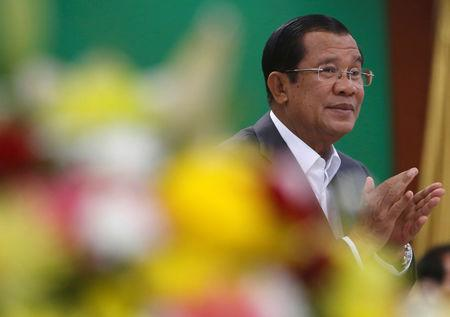Cambodia's Prime Minister Hun Sen attends a World Teacher's Day event in Phnom Penh