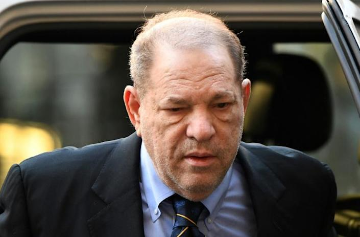 Harvey Weinstein arrives at the Manhattan Criminal Court, on January 24, 2020, for his rape and sexual assault trial in New York City. (AFP Photo/Johannes EISELE)