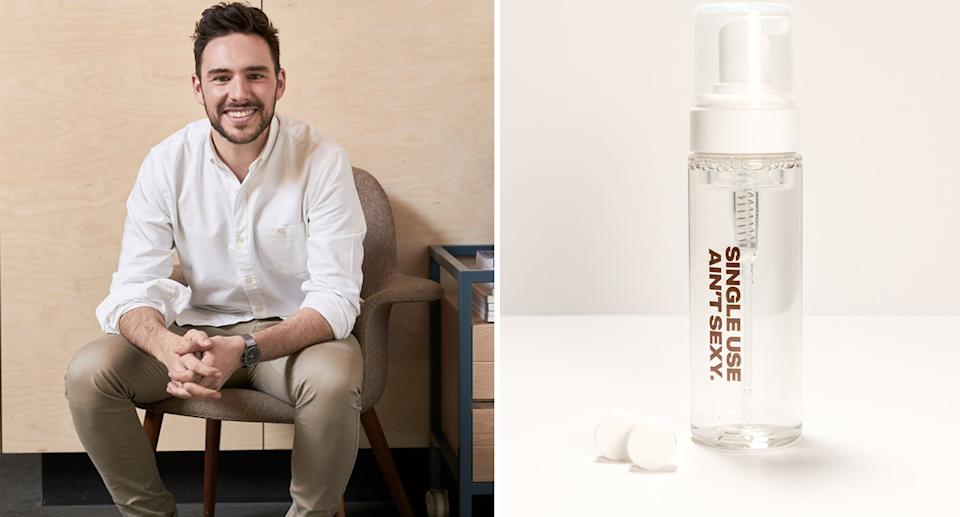 Founder Josh Howard said the hand wash (right) would save 25 traditional bottles from landfill per person every year. Source: Supplied