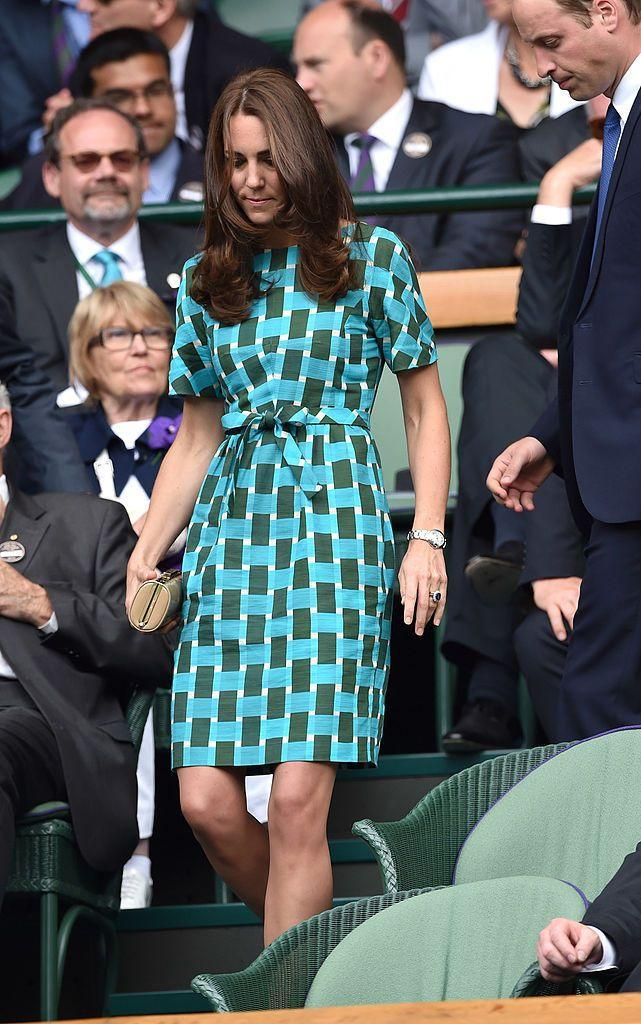 <p>The mother-of-three wore a green and blue shift dress to Wimbledon.</p>