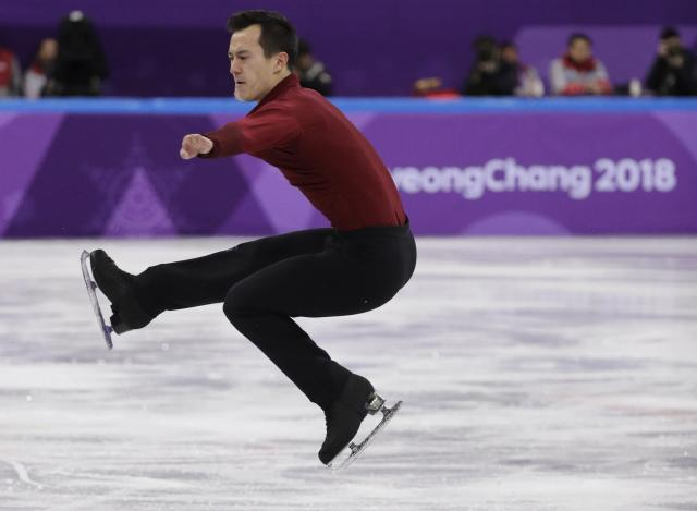 Patrick Chan of Canada performs in the men's single skating free skating in the Gangneung Ice Arena at the 2018 Winter Olympics in Gangneung, South Korea, Monday, Feb. 12, 2018. (AP Photo/David J. Phillip)