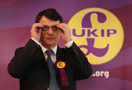 UKIP Brexit spokesman Gerard Batten speaks during a news conference in Stoke on Trent