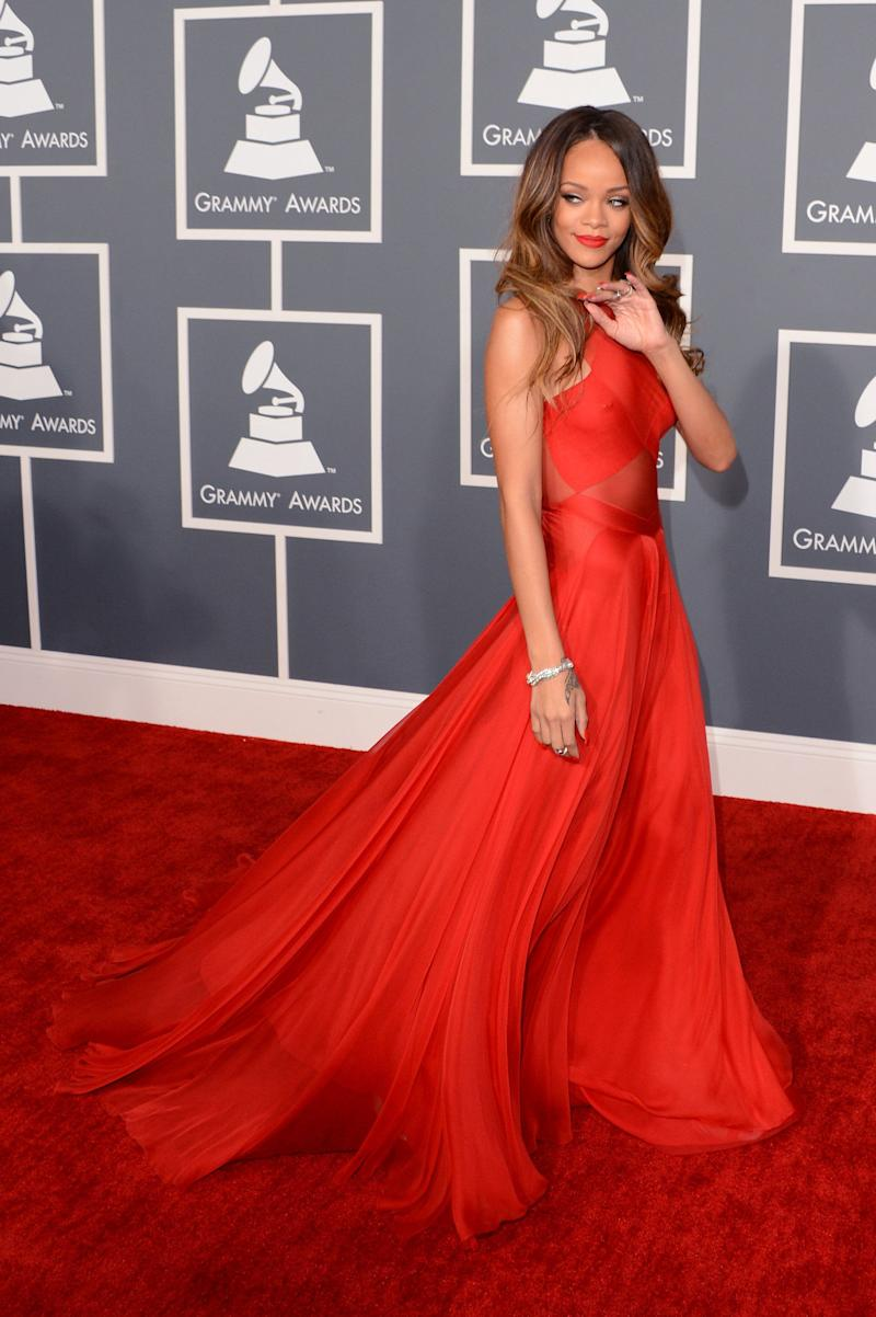 Wearing an Azzedine Alaia gown at the 55th Annual Grammy Awards at Staples Center on Feb. 10, 2013, in Los Angeles.