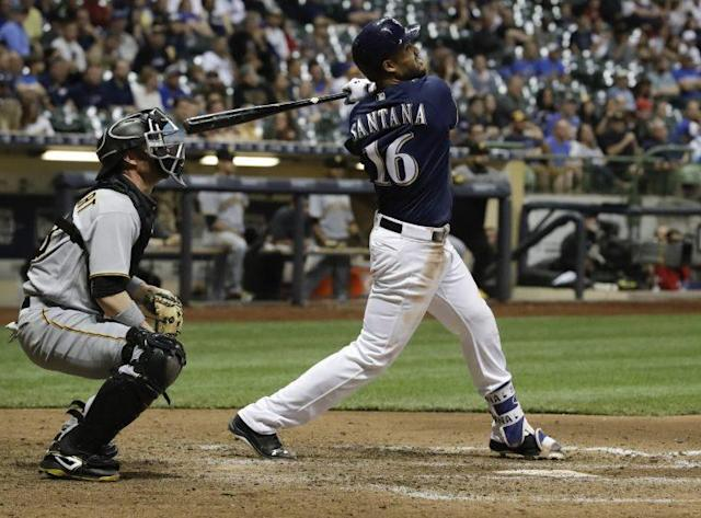 Betting on Domingo Santana has paid off for Milwaukee. (AP Photo)