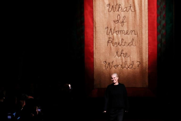 "Dior designer Maria Grazia Chiuri: ""What if women ruled the world?"" was embroidered on a banner hung in the womb-like space (AFP Photo/FRANCOIS GUILLOT)"