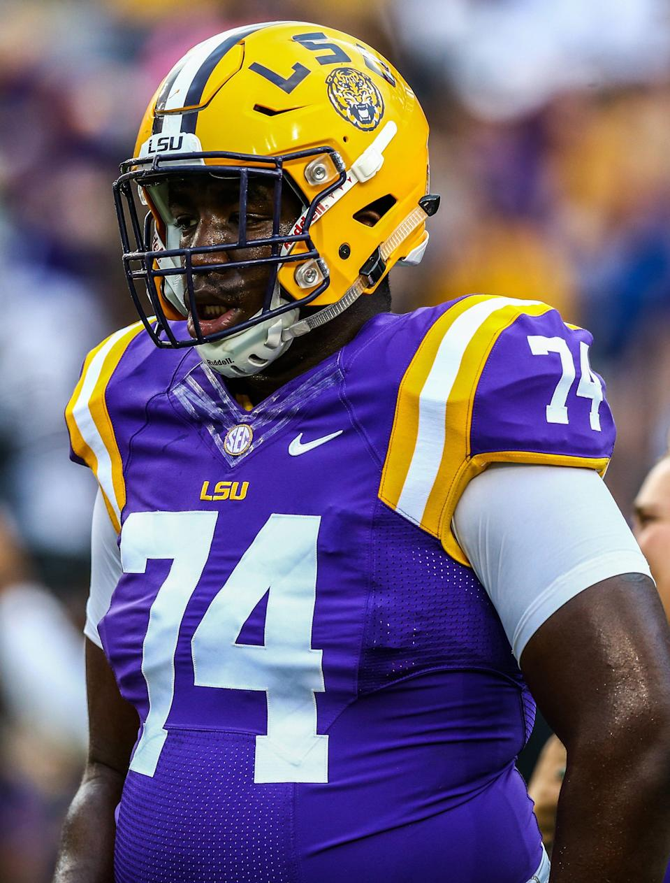 Apr 22, 2017; Baton Rouge, LA, USA; Louisiana State Tigers offensive lineman Willie Allen (74) warming up before the annual Louisiana State Tigers purple-gold spring game at Tiger Stadium. Purple team won 7-3. Mandatory Credit: Stephen Lew-USA TODAY Sports