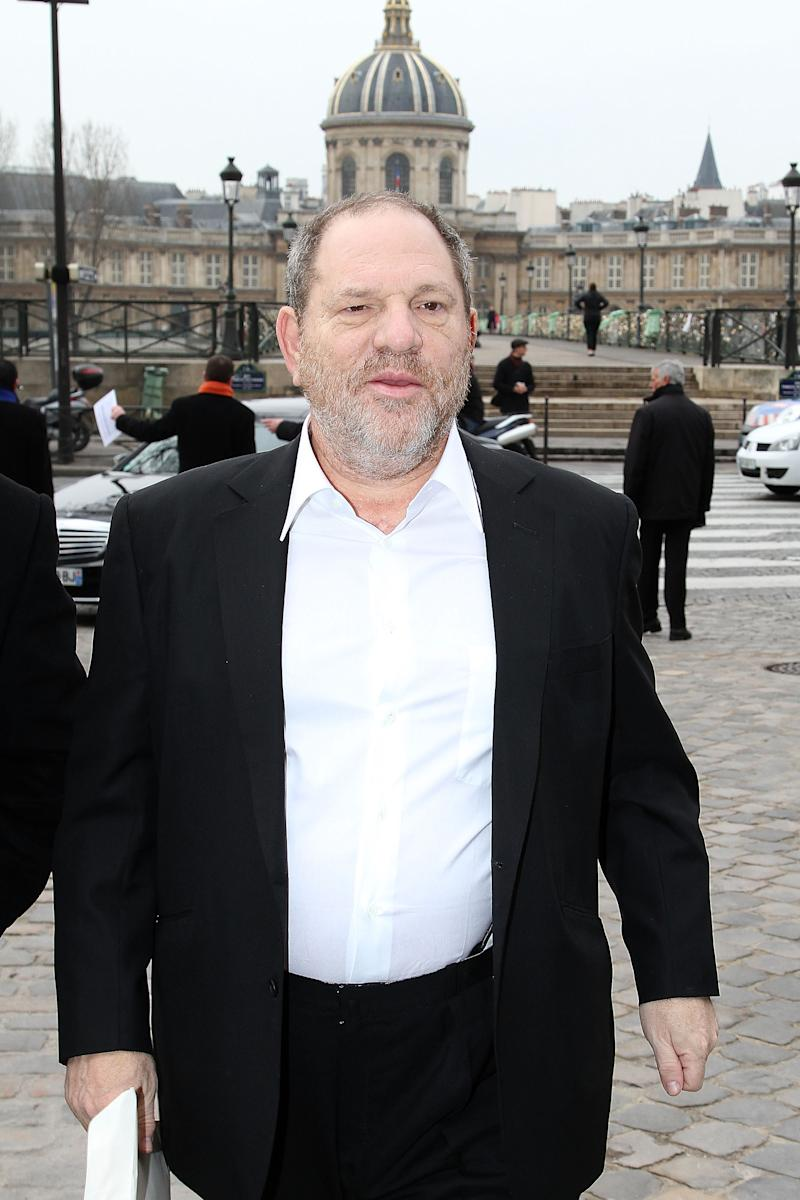 PARIS, FRANCE - MARCH 07: Producer Harvey Weinstein arrives for the Louis Vuitton Ready-To-Wear Fall/Winter 2012 show as part of Paris Fashion Week on March 7, 2012 in Paris, France. (Photo by Marc Piasecki/WireImage)