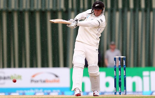 DUNEDIN, NEW ZEALAND - DECEMBER 07: Corey Anderson of New Zealand bats during day five of the first test match between New Zealand and the West Indies at University Oval on December 7, 2013 in Dunedin, New Zealand. (Photo by Rob Jefferies/Getty Images)