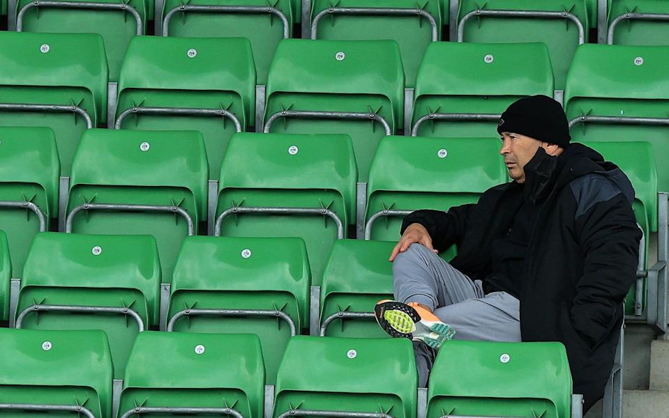 Eddie Jones, the England head coach looks on during the Gallagher Premiership Rugby match between Harlequins and Wasps at Twickenham Stoop - David Rogers/Getty Images