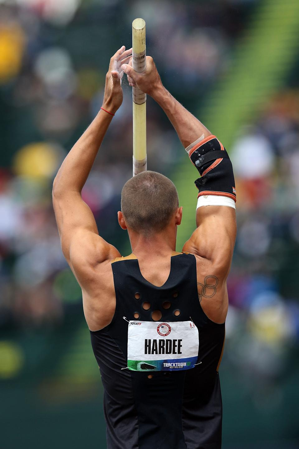 EUGENE, OR - JUNE 23: Trey Hardee competes in the men's decathlon pole vault during Day Two of the 2012 U.S. Olympic Track & Field Team Trials at Hayward Field on June 23, 2012 in Eugene, Oregon. (Photo by Christian Petersen/Getty Images)