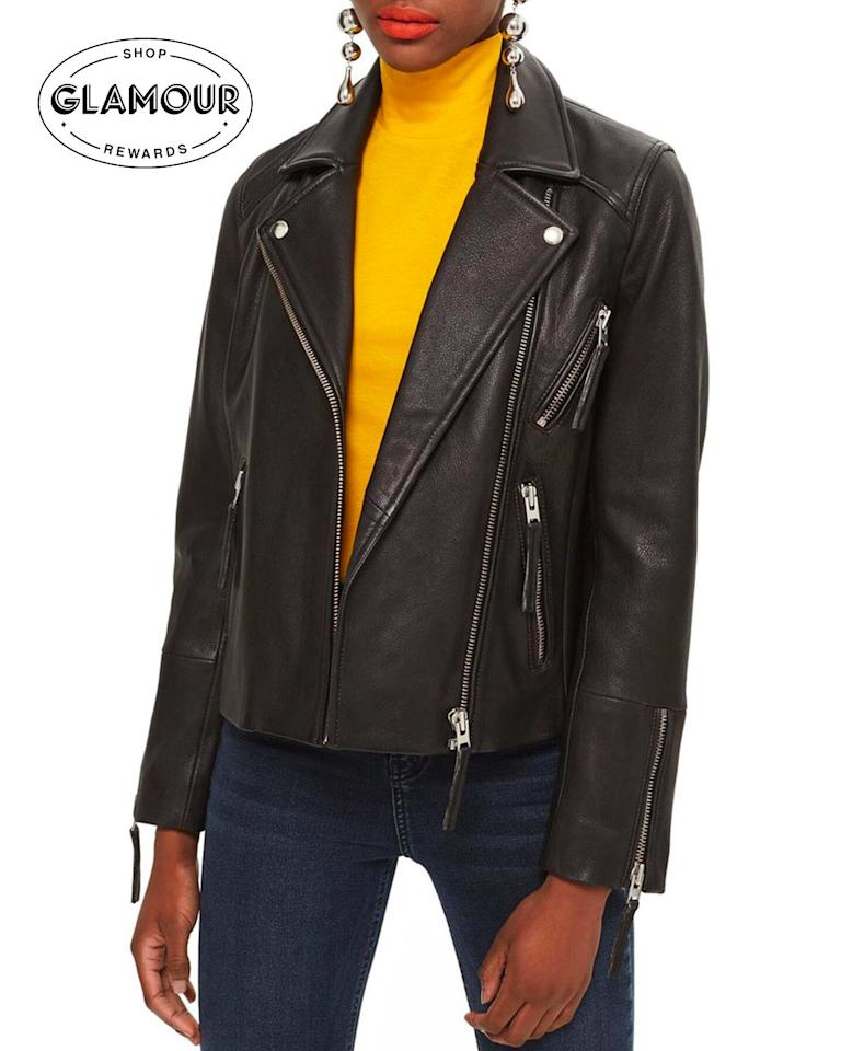 "A leather jacket is one of those pieces that has received the esteemed title of a throw-on-and-go piece—which is exactly why it's always worth having one in your closet. Plus, when you buy this one through <em><a href=""https://www.glamourrewards.com/"" rel=""nofollow"">Glamour Rewards</a></em> you get cash back. $295, Nordstrom Rack. <a href=""https://www.nordstromrack.com/shop/product/2947715?cm_mmc=feeds-_-adlucent-_-google-_-pla&utm_source=adlucent&utm_medium=feeds&utm_content=google&utm_campaign=pla&utm_channel=shopping_acq_p&sid=545650&aid=%5BADL%5D%20%5BPLA%5D%20%5BShopping%5D%20-%20Categories%20-%20Non-Brand%5BDesktop%5D&gclid=Cj0KCQjws7TqBRDgARIsAAHLHP7sijlcSsHZwFZWcouyVpCGeLGzgLOvRfOKizSDT-QWxFRinpNpijgaArngEALw_wcB&color=BLACK"">Get it now!</a>"