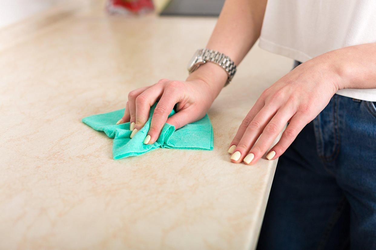 Cleaning the kitchen counter