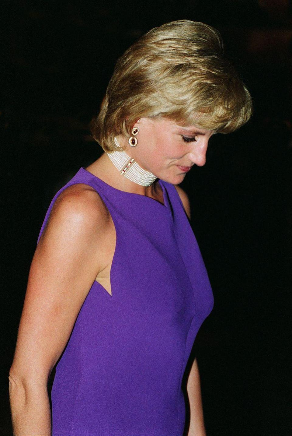 """<p>It's no secret Princess Diana was a fan of pearls, and this 11-strand pearl choker is one of her most enviable pieces of <a href=""""https://www.veranda.com/luxury-lifestyle/a32852562/pearl-june-birthstone/"""" rel=""""nofollow noopener"""" target=""""_blank"""" data-ylk=""""slk:pearl jewelry"""" class=""""link rapid-noclick-resp"""">pearl jewelry</a>. While she had many pearl chokers, this one, made with 900 pearls and columns of diamonds and rubies, was a favorite of hers to wear to film premieres and nights at the theater. </p>"""