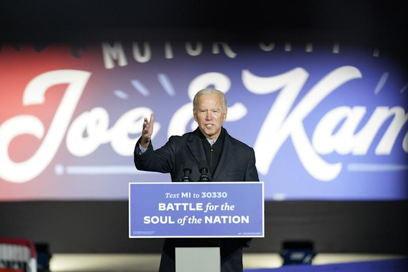 Democratic presidential candidate former Vice President Joe Biden speaks at a rally at Belle Isle Casino in Detroit, Mich., Saturday, Oct. /p p31, 2020, which former President Barack Obama also attended. (AP Photo/Andrew Harnik)