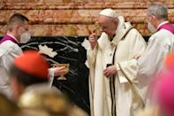 Pope Francis was due to celebrate Easter under a strict lockdown, delivering a message of hope and renewal ahead of his Easter Sunday mass