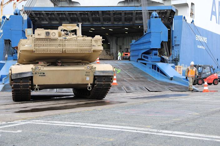 A M1 Abrams tank was the first piece of combat power to roll into Europe for Defender-Europe 20, in Bremerhaven, Germany, February, 20, 2020.