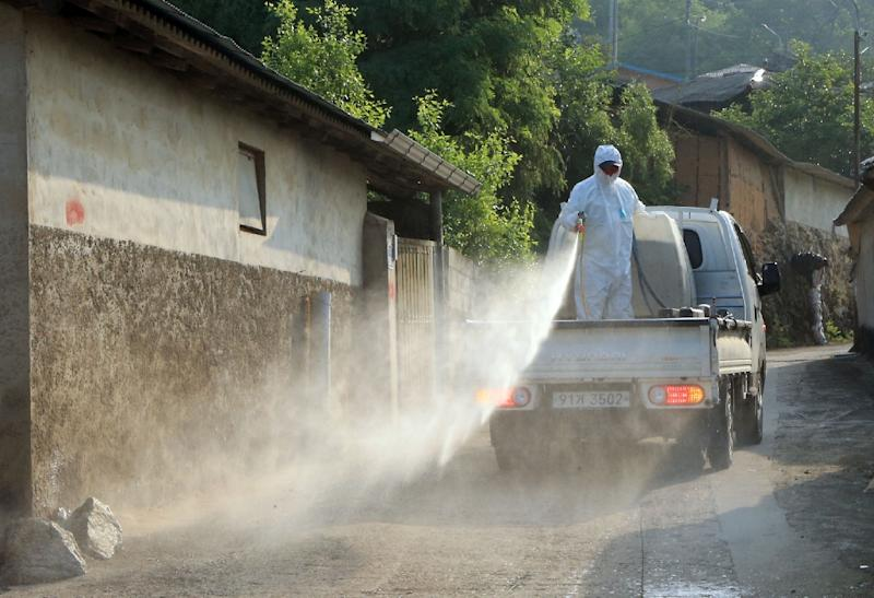 South Korean health workers disinfect Jangdeok in Sunchang County on June 19, 2015, after the village was kept in quarantine for two weeks following an outbreak of the MERS virus (AFP Photo/)