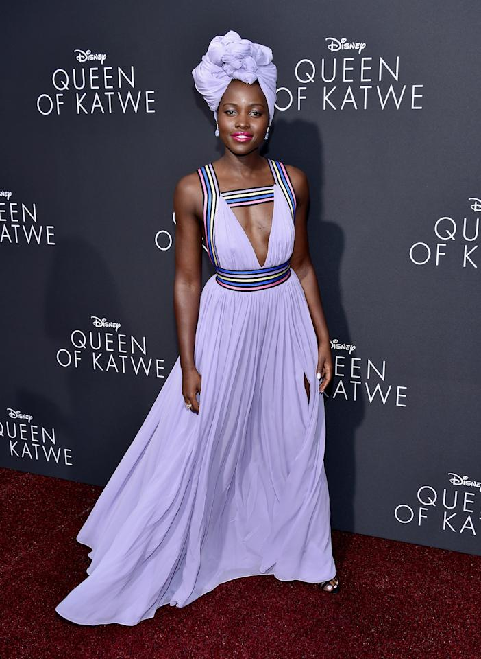 <p>Wearing a stunning lilac plunging dress and a matching turban, the actress flaunted her sartorial prowess like a pro. <i>[Photo: Getty]</i></p>