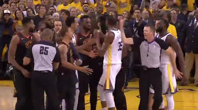A skirmish broke out during overtime in Game 1 after Tristan Thompson was called for a flagrant foul two on Shaun Livingston.