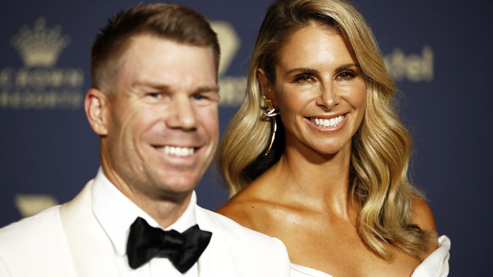David and Candice Warner, pictured here at the 2020 Cricket Australia Awards.
