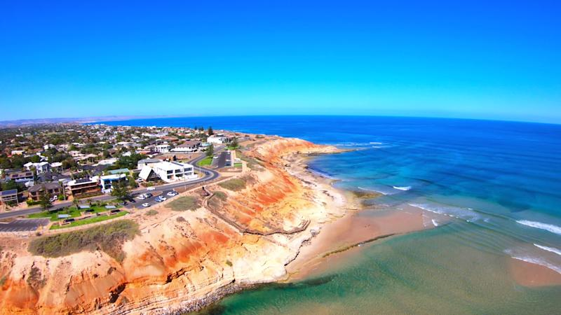 The South Australian Southport Onkaparinga River mouth estuary and coastline. (Source: Getty)